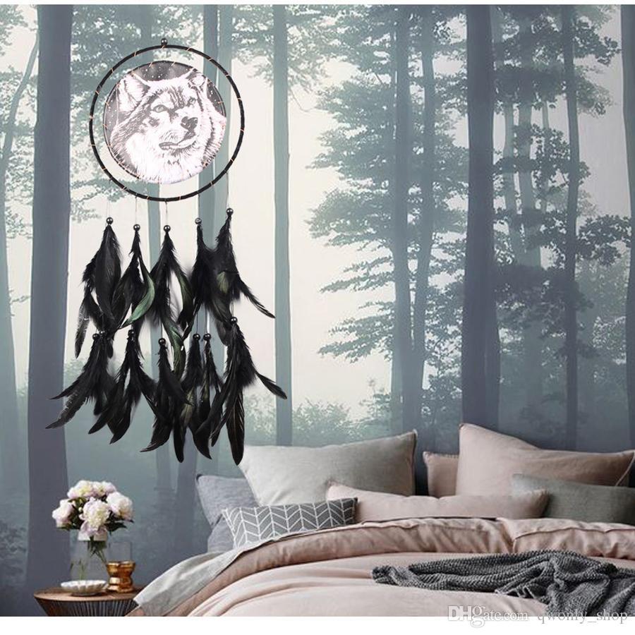 El yapımı Dreamcatcher Kartal Kurt Desen Tüy Boncuk Dream Catcher Ev Oturma Odası Asılı Dekor Süsleme Sanat El Sanatları Hediye