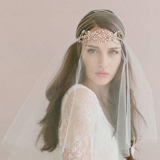 Trendy Gold Bridal Wedding Tiaras Bohemia Hair Accessories Crystals Headband Girls Party Headwear Veils For Brides Bride Cheap Clips
