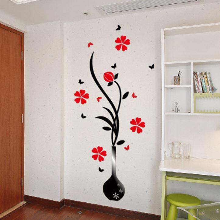 Flower Acrylic D Wall Decals Crystal Vases Stickers Plum Wall - Wall decals hallway