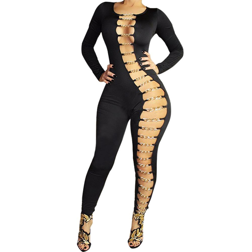 845201b333b 2016 Plus Size Rompers Womens Jumpsuit Long Sleeve Sexy Club Bandage  Jumpsuit Hollow Out Chain Bodysuit Playsuit Black <$18 no tracking