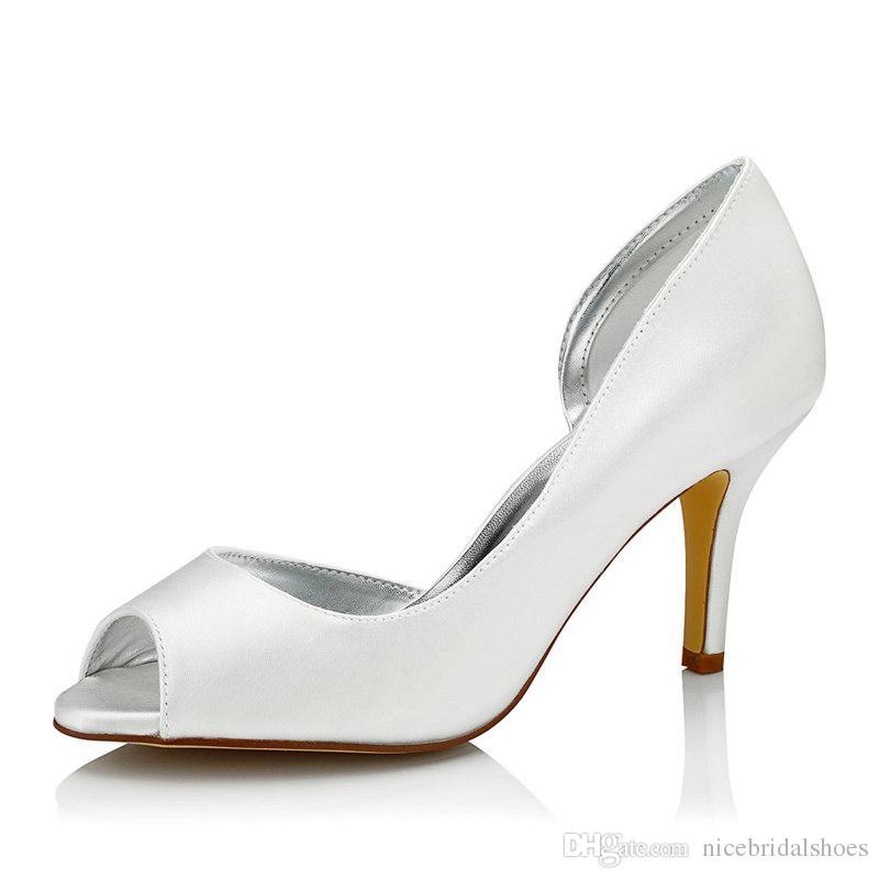 Plain Upper Dyeable Wedding Shoe 8cm Heel Pump Elegant Style Open Shoe Toe  Women Bridal Shoe Wedding Dress Shoes Handmade Shoe For Wedding Gold Heels  ...