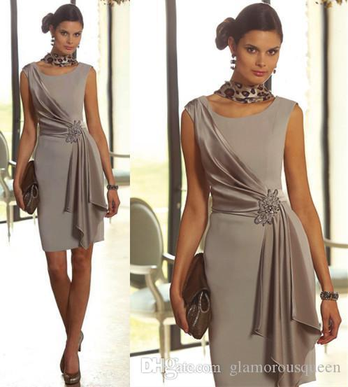 638944e177a Summer Plus Size Short Sheath Mother Of The Bride Dresses With Scoop Neck  Cap Sleeve Beaded Mini Mother Of The Groom Gowns Silver Cheap Mother Of The  Groom ...