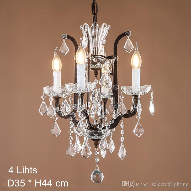 Maria Theresa Crystal Chandelier Lamps E14 E12 Led Candela Bulb Lights Large Crystal Lamp Rustic Loft Industrial Lighting 120V 240V