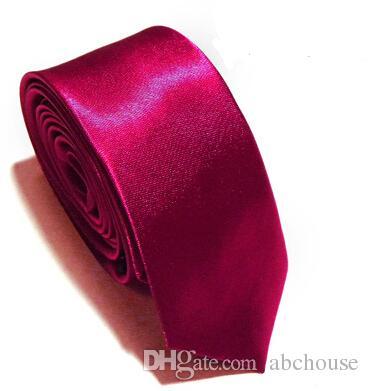 Venta al por mayor 10 Unids / lote Nuevo Para Hombre Flaco Color Sólido Llanura Satén Corbata Corbata de seda Corbata en blanco y negro seda jacquard tejido Corbata Corbata
