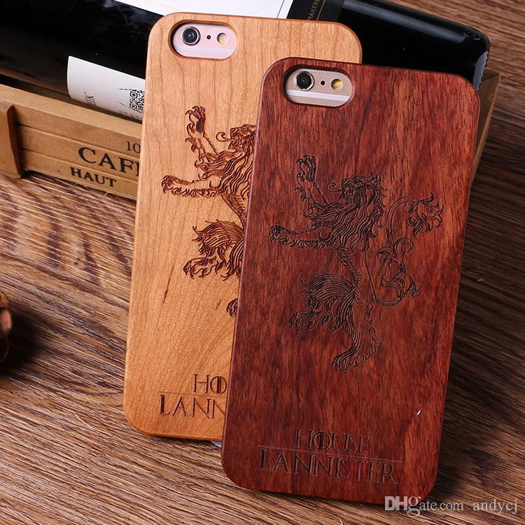 Estuche de madera para teléfono PC duro para el bambú para el iPhone 7 más 6Plus 6s 5 5s tallado Patrón retro de madera cubierta dura Shell