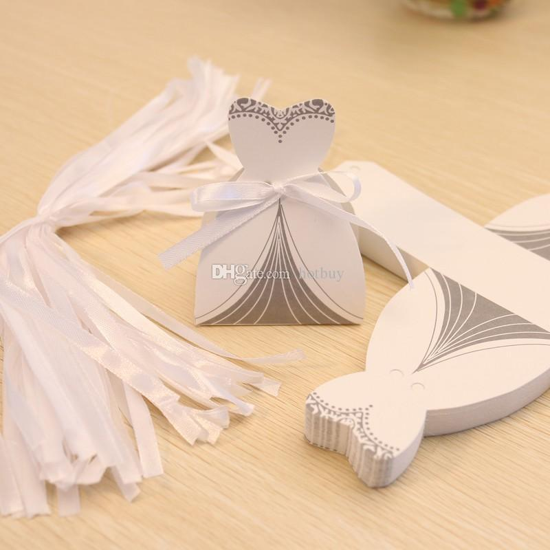 Bridal Gift Cases Groom Tuxedo Dress Gown Ribbon Wedding Favor Candy Box #3937