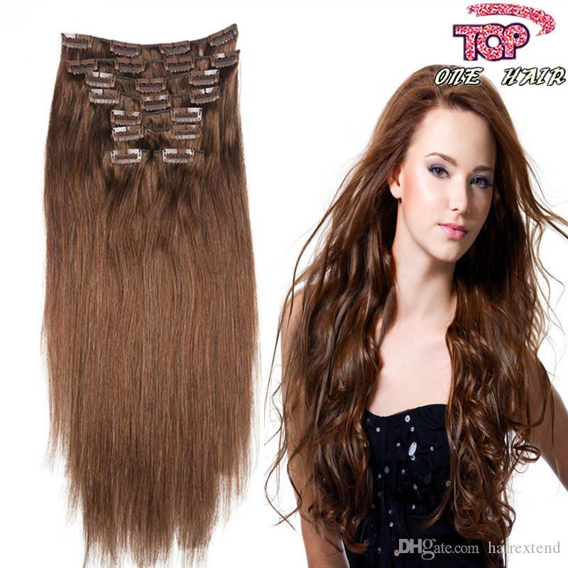 Remy Hair Brazilian Clip In Hair Extensions Cheap 70g 100g 130g Dark
