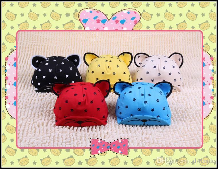 Prettybaby crianças dos desenhos animados gatos tampas de impressão 10 estilos bebê Eaves boné chapéu com orelhas crianças bonés de beisebol Pt0364 # mi