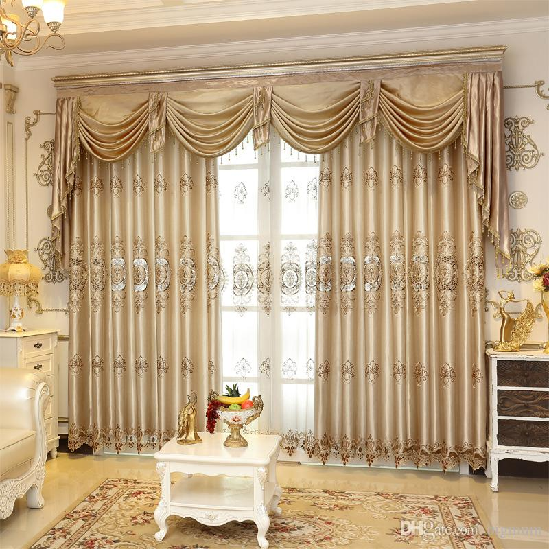 2017 Embroidered Luxury Window Curtain For Living Room /Bedrooms / Hotel  Customized Khaki Curtains+Tulle Home Furnishing/Treatment From Bigmum, ...