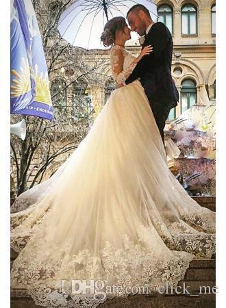 Abiti da sposa maniche lunghe vintage con gonna staccabile V-collo con scollo a V Abiti da sposa guaina Abito da sposa con bottone posteriore ricoperto di tulle