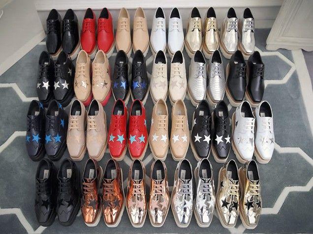 CALDO!! New Stella Britt Shoes Elyse Scarpe Star spazzolate Platform Derbys Wedge Lace-up Flat Stella Shoes