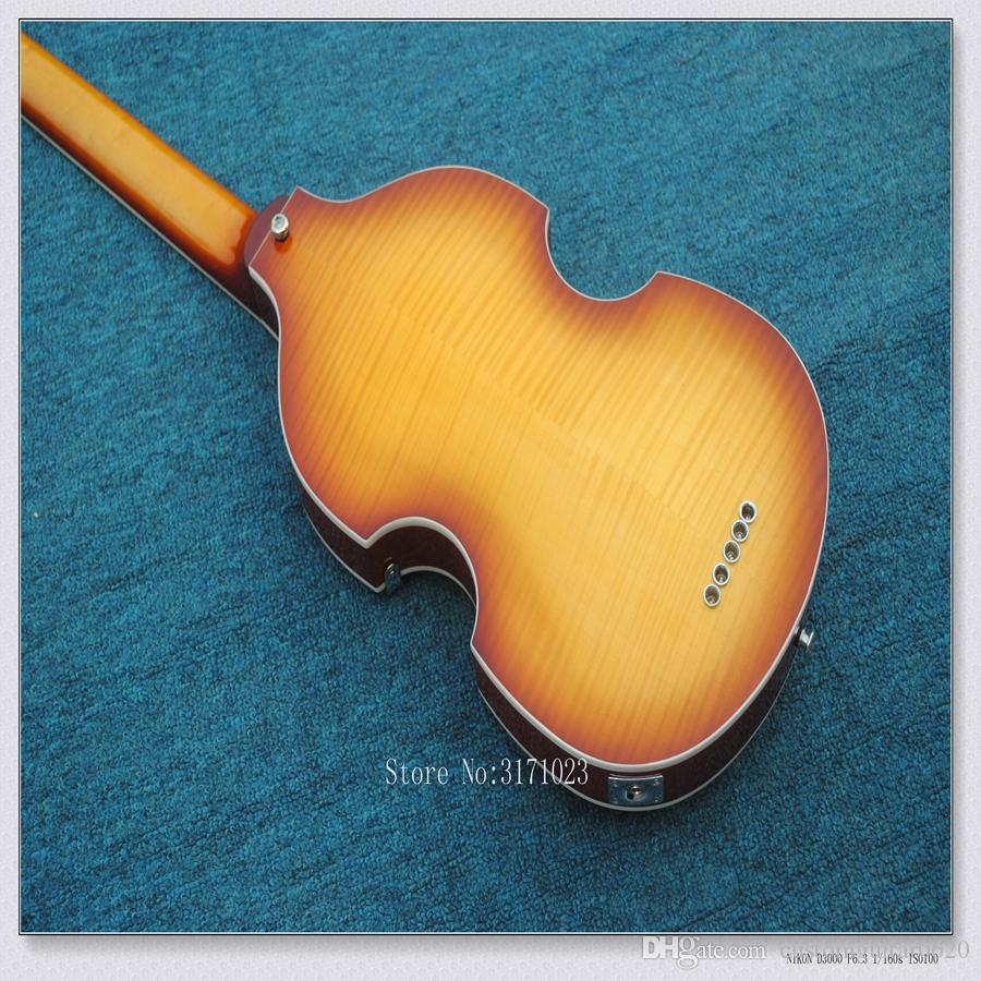 NEW Arrival Violin style 4 Strings Electric bass Guitars in Honey burst Chinese guitar