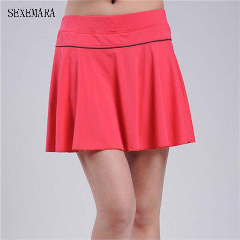 4a68066575 2019 Wholesale SEXEMARA Tennis Skirts Skort Badminton Beach Volleyball  Skorts Anti Exposure Women Girl Skirt Ladies Sport Skirts From Lahong, ...