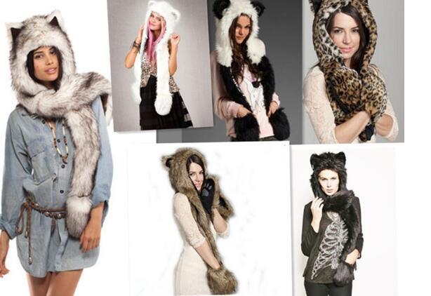 Frauen Mädchen Dame Designer Niedlichen Tier Pelz Hut Kapuze Schal Handschuh Set Wintermütze mit Tier Ohren Hut Halloween Weihnachtsgeschenk