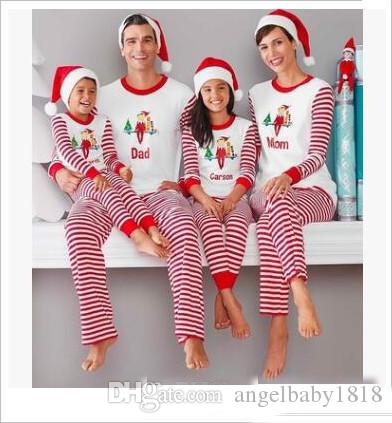 Christmas Pajamas Family Matching Clothes Striped Xmas Pajamas Sets Mother  Father And Kids Son Matching Nightwear Matching Easter Dresses For Mom And  ... d4b84bfb8