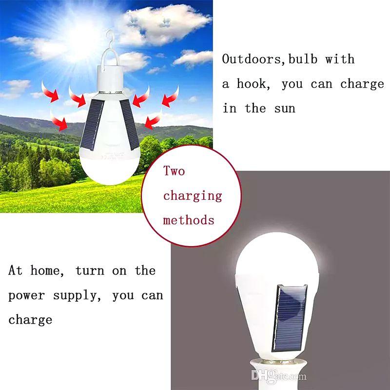 Solar lights E27 7W Solar Lamps 85-265V Energy Saving Light LED Intelligent Lamp Rechargeable Solar lighting Emergency Bulb Daylight ZJ0557