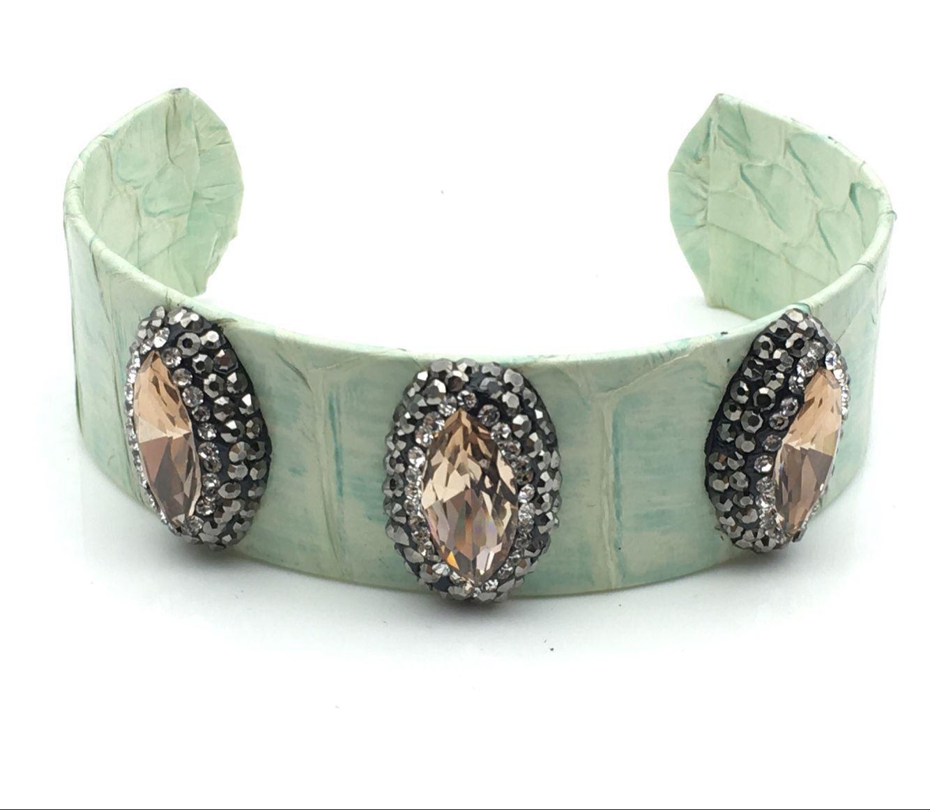 Nature Labradorite Gem stone Bangle Cuff with Snakeskin Wrap in Pave Crystal Labradorite Bangles Jewelry