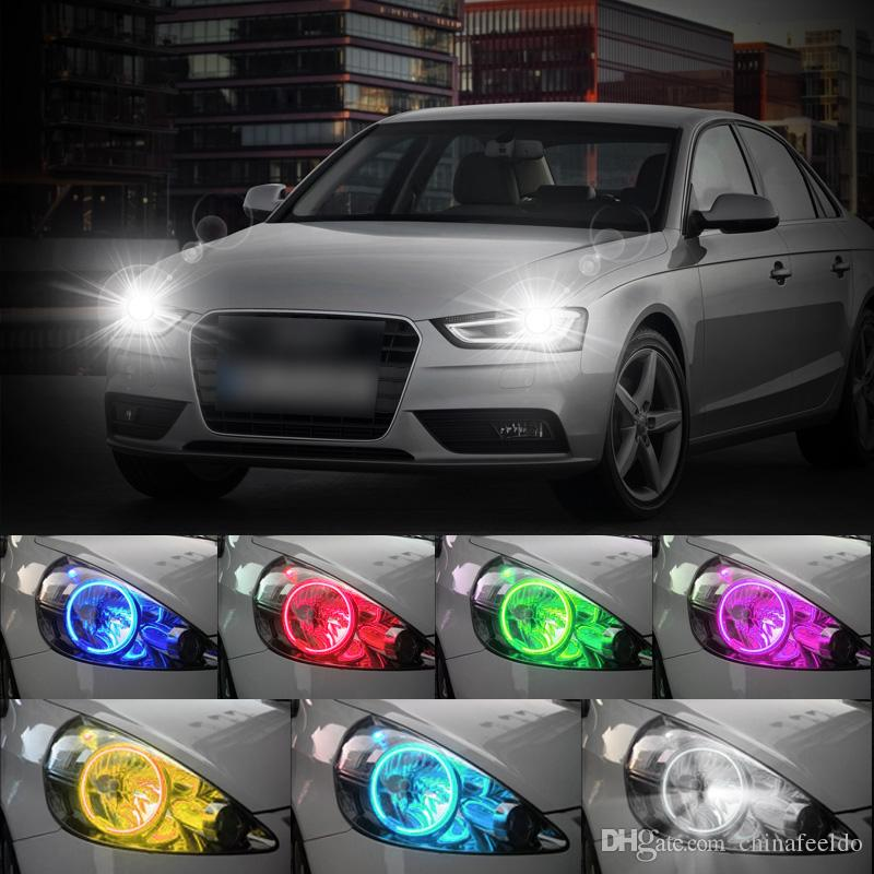 LEEWA Car RGB Multi-Color LED Angel Eyes Halo Ring Lighting Kit Remote Control For Ford Focus 08+ Headlight #3663