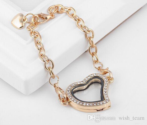 Mezcla de colores creativo aleación de zinc flotante medallón pulsera regalo de la joyería Rhinestones magnética medallón brazalete para las mujeres wish_team