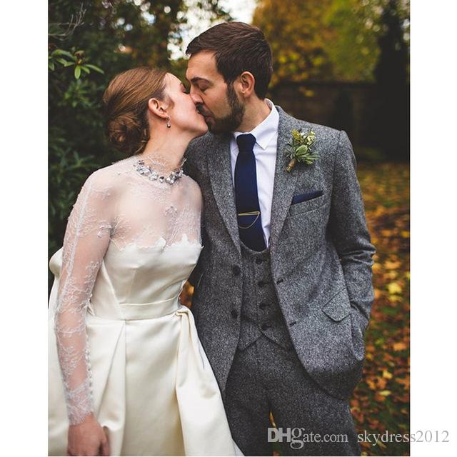 Custom Made Grey Tweed Wedding Suit For Men Classic Slim Fit Groom Blazer Custom 3 Piece Jacket Pants Vest H550