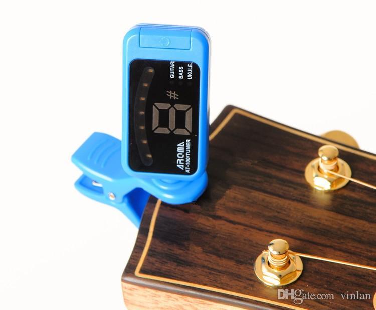 رائحة AT-100 أجزاء الغيتار الكهربائي القيثارة الغيتار أسود أزرق بنفسجي اللون led الرقمية موالف الغيتار الموسيقية