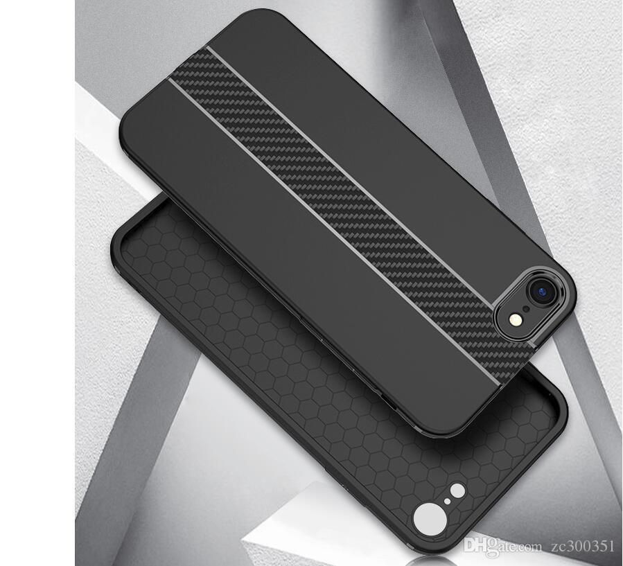 Custodie in fibra di carbonio iPhone 6 Custodia 6s Plus SE 5 5s Custodie Custodia morbida anti-ribaltamento iPhone 7 Custodia 7 Plus