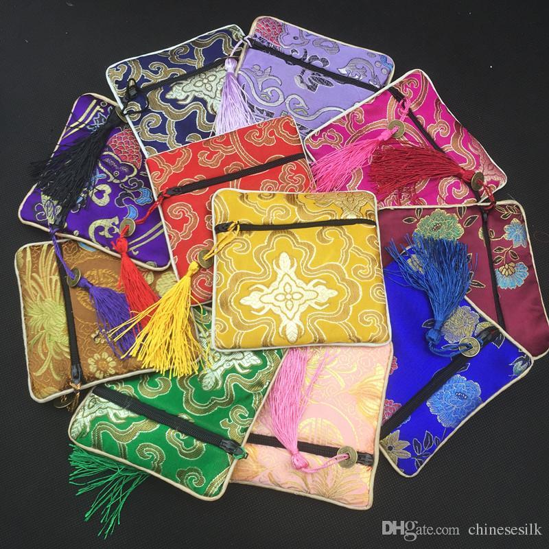 Di alta qualità piccolo nappa zip borsa imballaggio regalo sacchetti di raso di seta gioielli braccialetto braccialetto sacchetto di immagazzinaggio moneta cinese portafoglio 10 pz / lotto