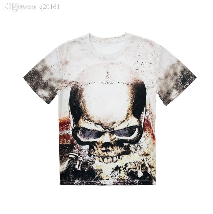 2016 best-selling man 3 d skull printing T-shirt quality cotton short sleeve T-shirt Fashion tee printed t-shirts wholesale