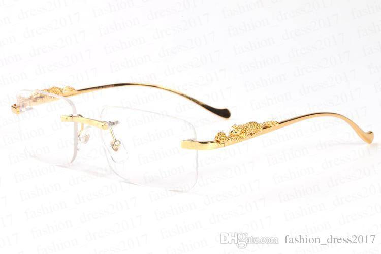 nuovi occhiali da sole Polaroid di moda gli uomini raffreddano oro e argento del modello del leopardo con stent di metallo occhiali da sole senza montatura nero marrone chiaro lente a specchio