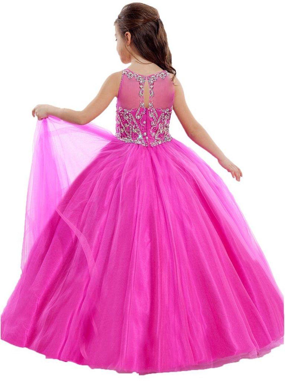 Jewel Sheer A Line 2016 novos vestidos da menina de cristal frisado tule aberto de volta vestido de festa vestido de dança vestidos de baile