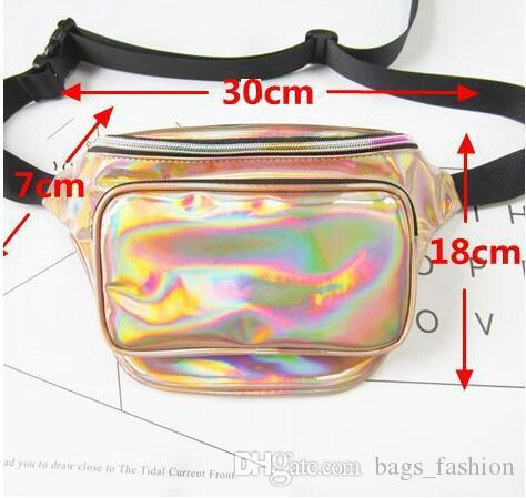 Impermeable Laser Fanny Pack Hip Cintura Pack Belt Pouch Mujeres Unisex Cinturón Bolsa PU Hologram Money Belt Travel Cajero Bolsa es