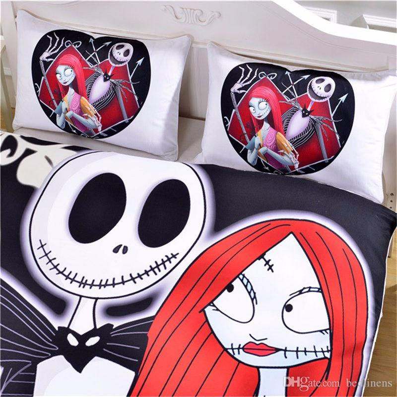 Skull Nightmare Before Christmas Reactive Printing Bedding Set Twin Full Queen King Size Bedroom Decoration Duvet Cover Pillow Shams Girl
