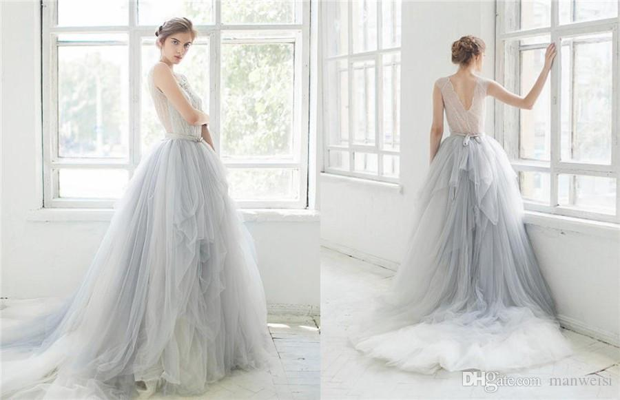 Beachy Wedding Gowns: Discount 2016 Ombre Tulle Beach Wedding Dresses Lace