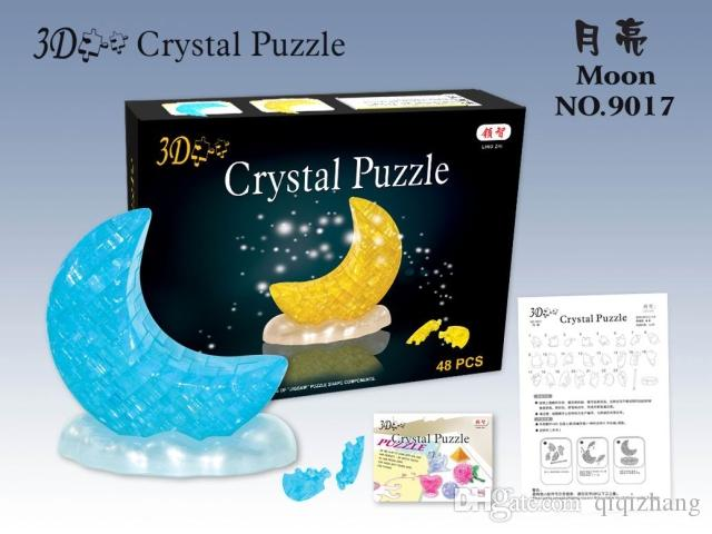 New Arrival 3D Crystal Puzzle Blocks Moon NO.9017 Educational Toys Christmas Kid's Present New Year Gift