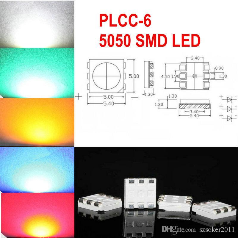 1000 stücke Weiß Rot Blau Grün Gelb PLCC-6 5050 SMD 3-Chips LED Lampendioden ultra hell