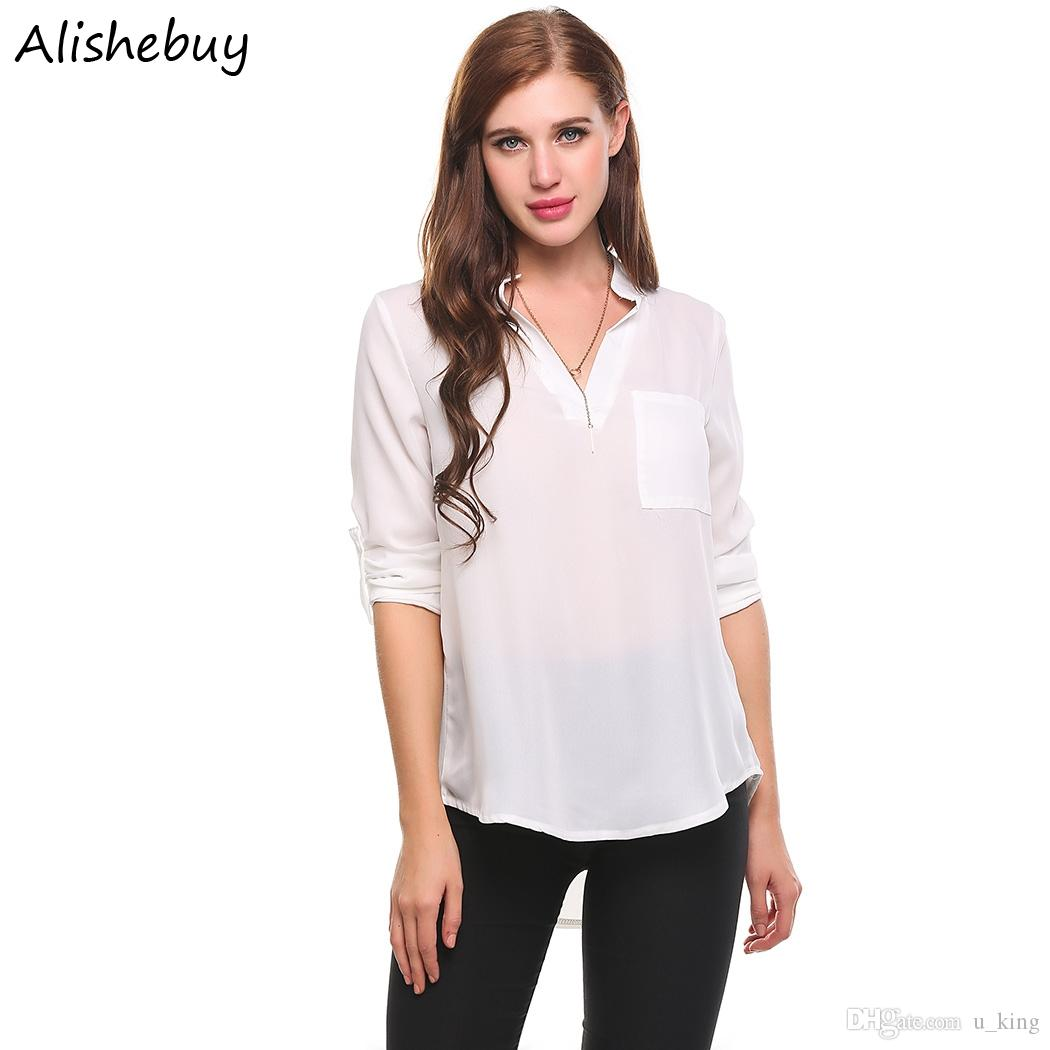 95f2e1b1906 2019 Hot Fashion Women Casual V Neck Shirts Long Sleeve Solid Casual  Pullover Chiffon Blouse Ladies Summer Tops White Army Green Tops SVH032815  From U king
