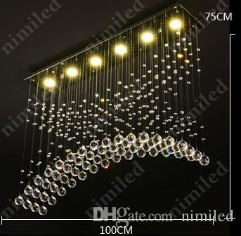 nimi819 L60 / 80 / 100cm 현대 미니멀리스트 직사각형 식당 크리스탈 램프 LED 크리 에이 티브 레스토랑 조명 샹들리에 바 펜던트 조명
