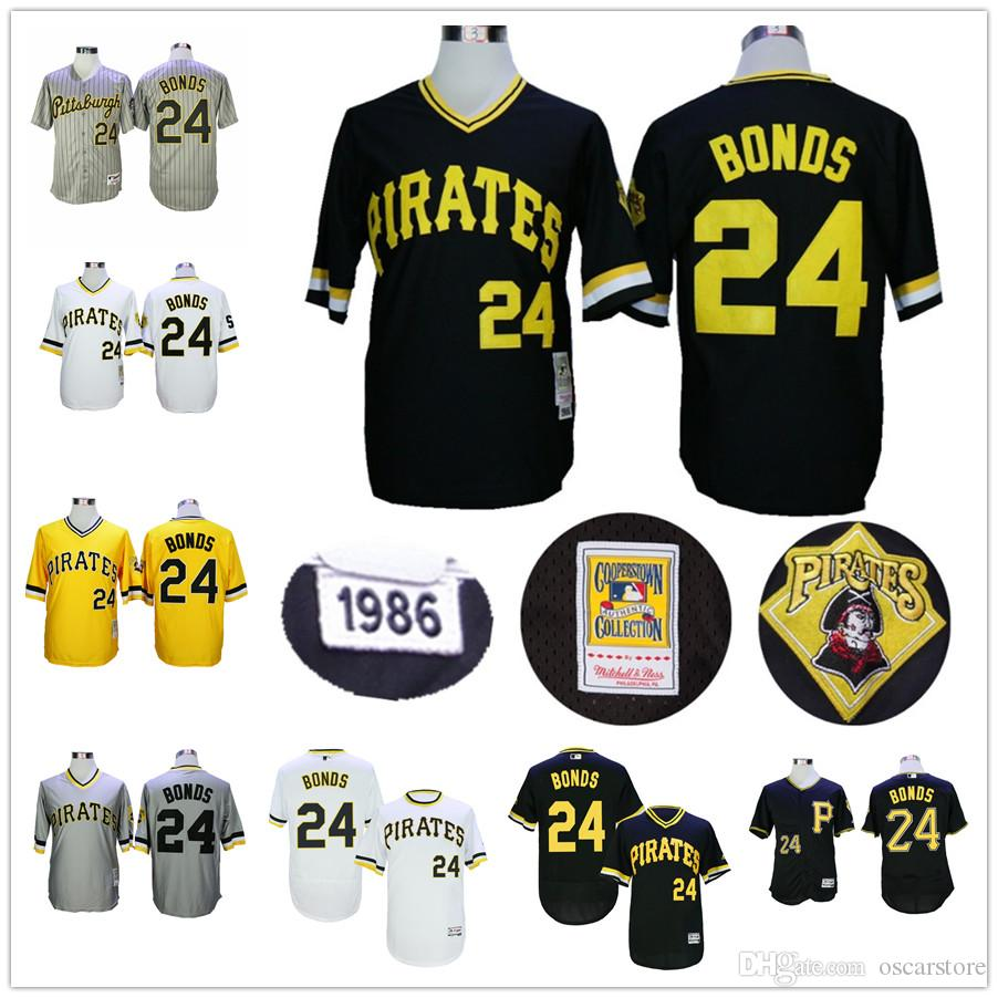 competitive price 6d174 e3d1c mens pittsburgh pirates 24 barry bonds white throwback jersey