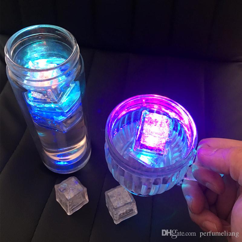 Fast shipping Christmas Decoration Flash Ice Cube WaterActived Led Light Put Into Water Drink Flash Automatically for Party Wedding Bars