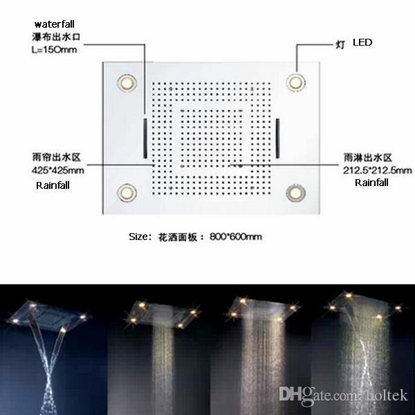 Torneiras Do Banheiro Fixação Do Banheiro 600 * 800mm Recesso Teto Montado Cachoeira Cabeça de Chuveiro de Chuva Grande Chuva Chuveiro LEVOU Alto Fluxo Casa banho