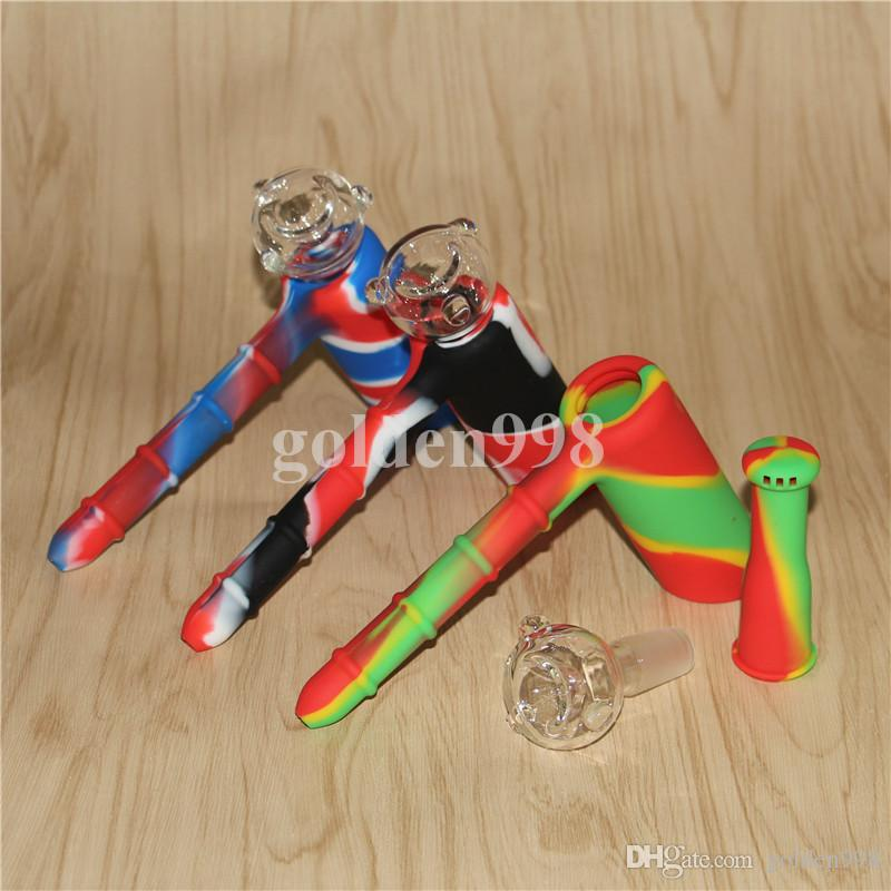 New Smoke Bong Silicone Bongs with percolator Non Toxic silicone hammar Water Pipes Unbreakable With Glass Adapter and Bowl