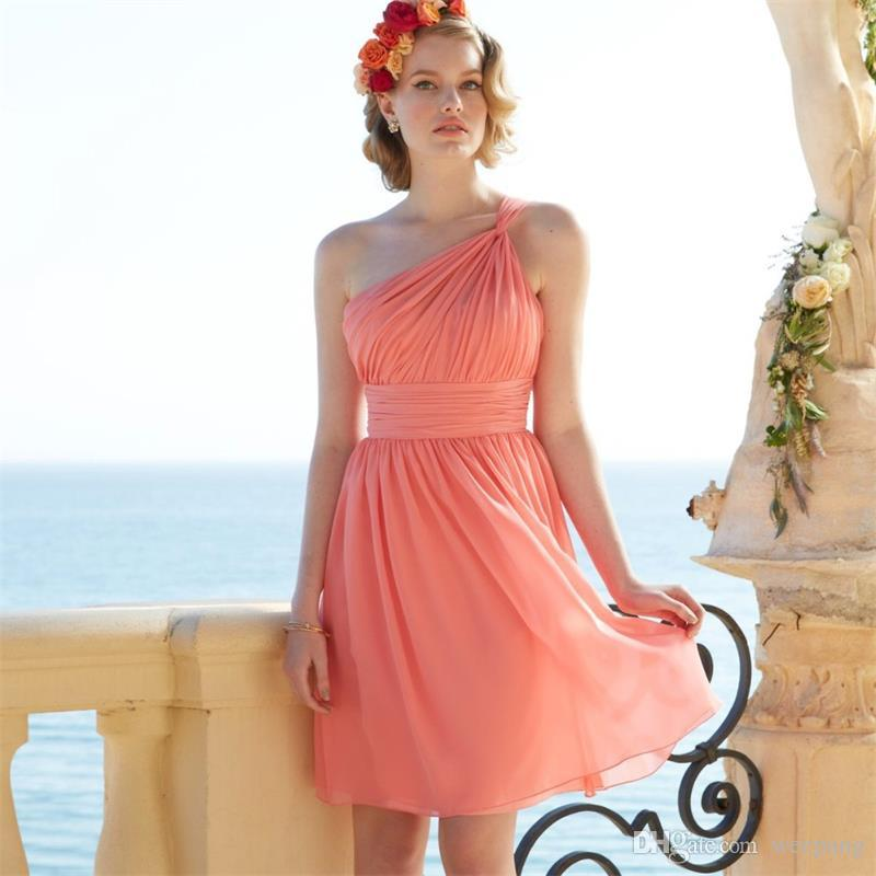 Coral One Shoulder Short Bridesmaid Dress 2016 Backless Plus Size