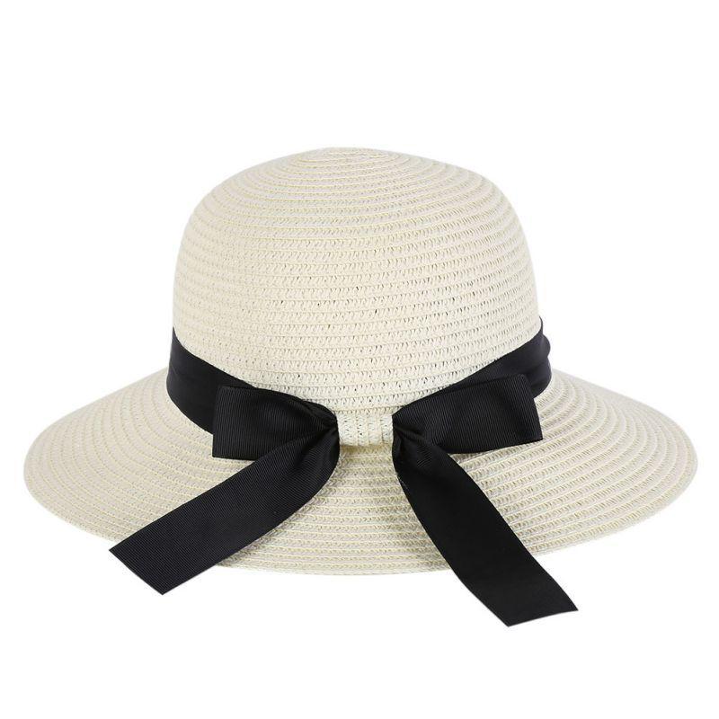 c9627fecd334e Wholesale Summer Elegant Ladies  Wide Brim Straw Beach Hats Bowknot Women S  Sun Casual Caps C1 Wool Hat Black Hats From Naixing