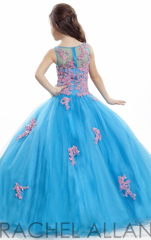 Turquesa Rachel Allan Girl Pageant Vestidos Patchwork Lace Organza Ball Vestido Flor Menina Vestidos Para Casamentos Party PROM VESTIDOS HY897
