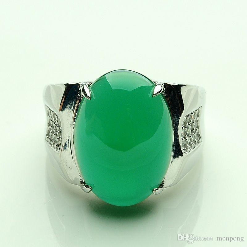 Jade jade jade ring BanZhi ring 925 silver Men men chalcedony ring Jadeite jade ring