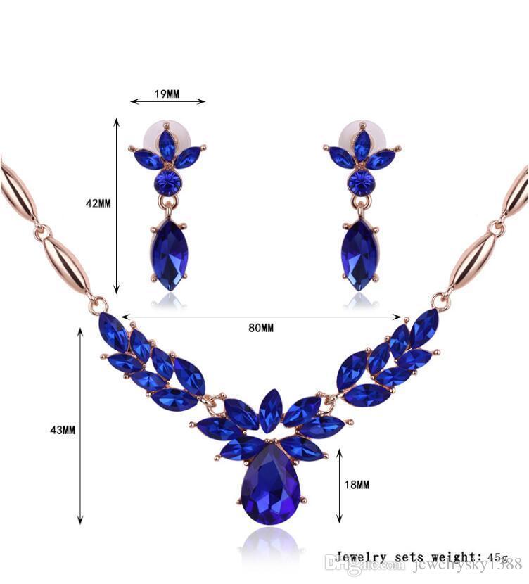 Kristal Çiçek kolye Küpe Lüks Altın Yaprak Su Damlası Safir Pedant Kolye Takı Seti Kadınlar Gelin Düğün Takı