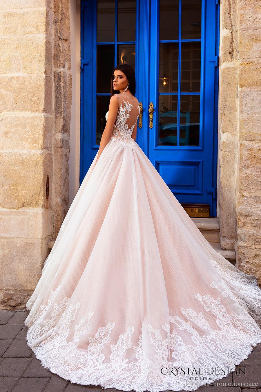 2016 Blush Do Vintage Sheer Neck Lace Vestidos De Casamento Puffy Tribunal Trem Vestidos De Noiva A Linha Custom Made Vestidos De Casamento