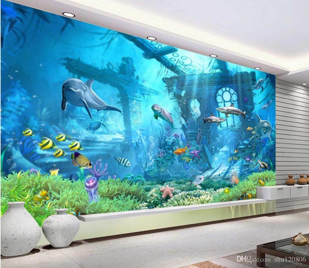 Classy 40 underwater wall mural inspiration design of for Underwater mural ideas