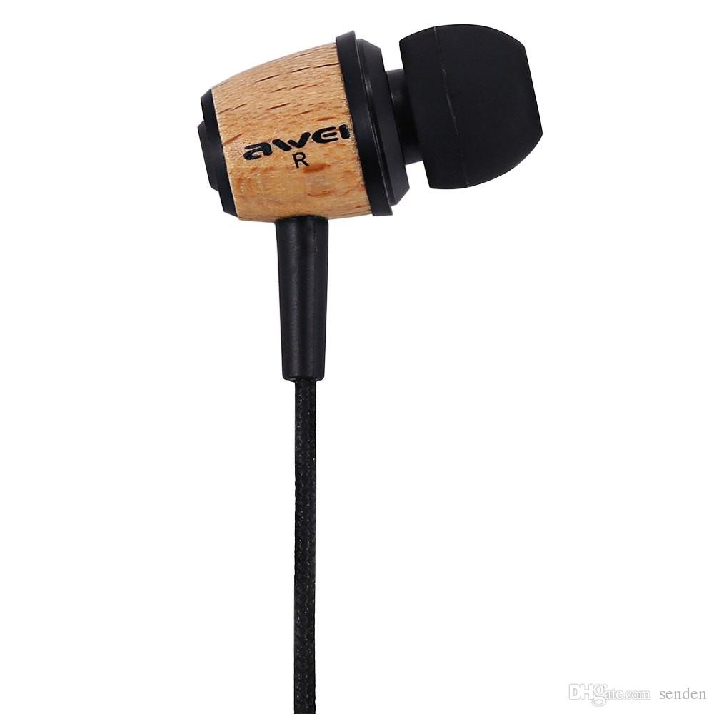 newest Original wired Super Bass Stereo Earphones AWEI Q9 3.5mm Fone De Ouvido Wood Style In Ear MP3 Music Earphones for Xiaomi Mobile Phone