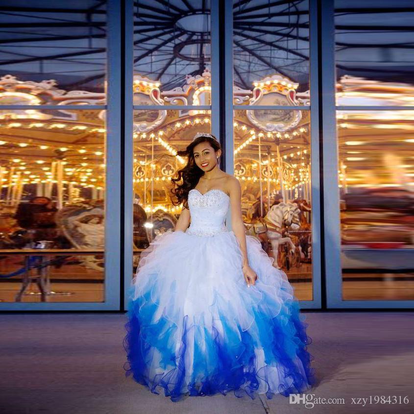 الترتر مطرز حبيبته فساتين quinceanera جميلة التدرج الأزرق المتتالية الكشكشة الدانتيل يصل فستان حفلة موسيقية منتفخ المتدرج الطابق طول الكرة ثوب